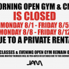 JAM MORNINGS CLOSED FOR 2 WEEKS