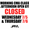 MORNING CLASSES & AFTERNOON OPEN GYM CLOSED 7/5 & 7/6