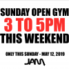 SUNDAY OPEN GYM CLOSING AT 5PM THIS WEEKEND!