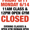 6/11 & 6/14 - NO MORNING CLASSES OR 12PM OPEN GYM